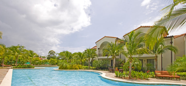 View of a vacation condo in tropical setting